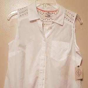 ST JOHN'S BAY - white eyelit shirt (00000-00010)